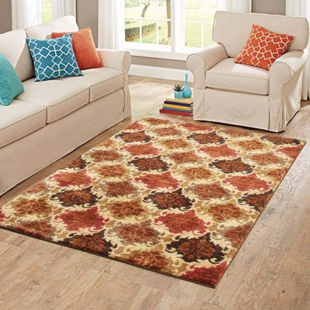 Better homes and gardens spice damask nylon area rug 5 39 x 7 39 7 better homes and gardens