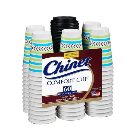 Chinet Comfort Cup, Hot Cups & Lids, 16 Oz, 60 Ct