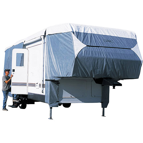 Classic Accessories Poly Pro III Deluxe 5th Wheel RV Trailer Storage Cover, Grey