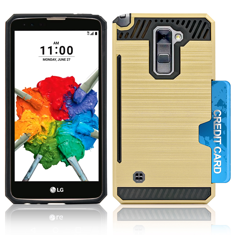 LG Stylo 2 Plus; MS550 Slim PC Metal Brushed Protective Credit Card Slot Case Cover Black