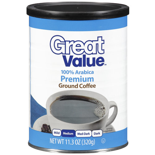 Great Value 100% Arabica Medium Ground Coffee, 11.3 oz