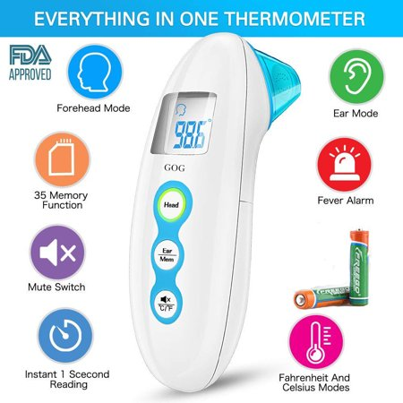 Medical Digital Ear Forehead Temporal Thermometer FDA Approved For Baby Kids Infant Adult; 5 in 1 Upgraded Tympanic Fever Scan Lens Non Contact Better Accuracy Instant Accurate Easy Reading