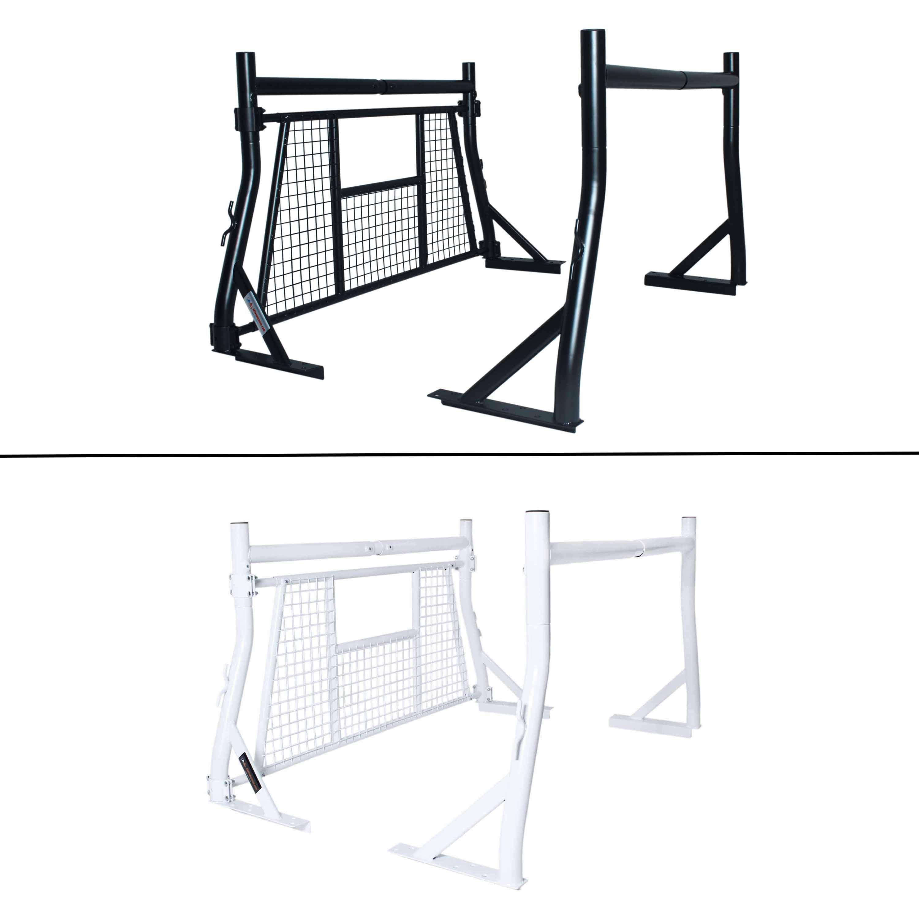 AA-Racks 800 LB Capacity Extendable Pick-up Truck Rack with Protective Screen Set - Black (X35-W-BLK)