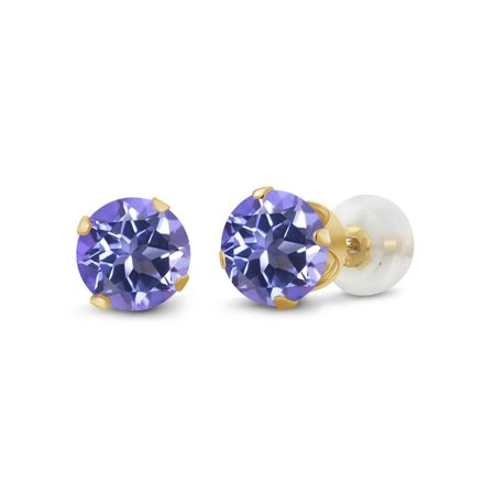 2.00 Ct Round 6mm Tanzanite Blue Mystic Topaz 10K Yellow Gold Stud Earrings - Gold Turquoise Earrings