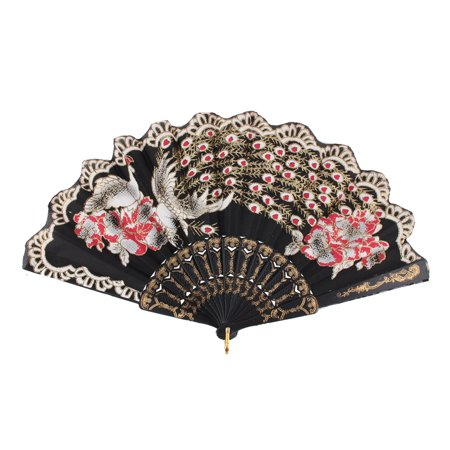 Lady Household Outdoor Plastic Rib Chinese Style Hanging Folding Held Hand Fan](Folding Hand Fan)