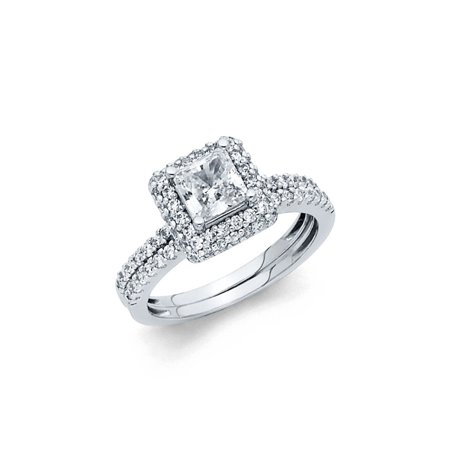 14K Solid White Gold 1.50 cttw Polished Cubic Zirconia Engagement Wedding Ring, 2 Piece, Size 4.5 14k White Gold Cz Rings