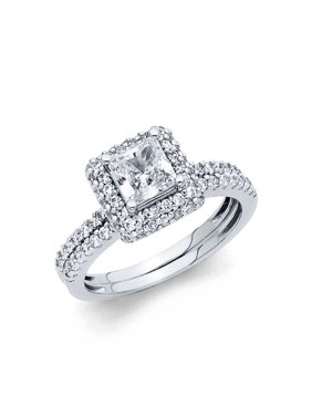 14K Solid White Gold 1.50 cttw Polished Cubic Zirconia Engagement Wedding Ring, 2 Piece, Size 4.5