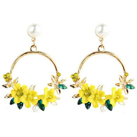 KABOER  Flower Earrings Sweet Soft Clay Pearl Earrings Ear