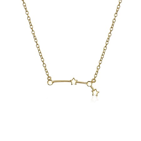 Celestial Horoscope Astrology Zodiac Constellation Stars Necklace For Women For Teen 14KT Gold Plated Sterling Silver