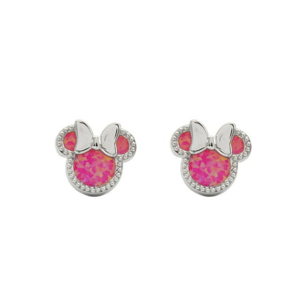 Disney Minnie Mouse Sterling Silver Pink Opal Stud Earrings