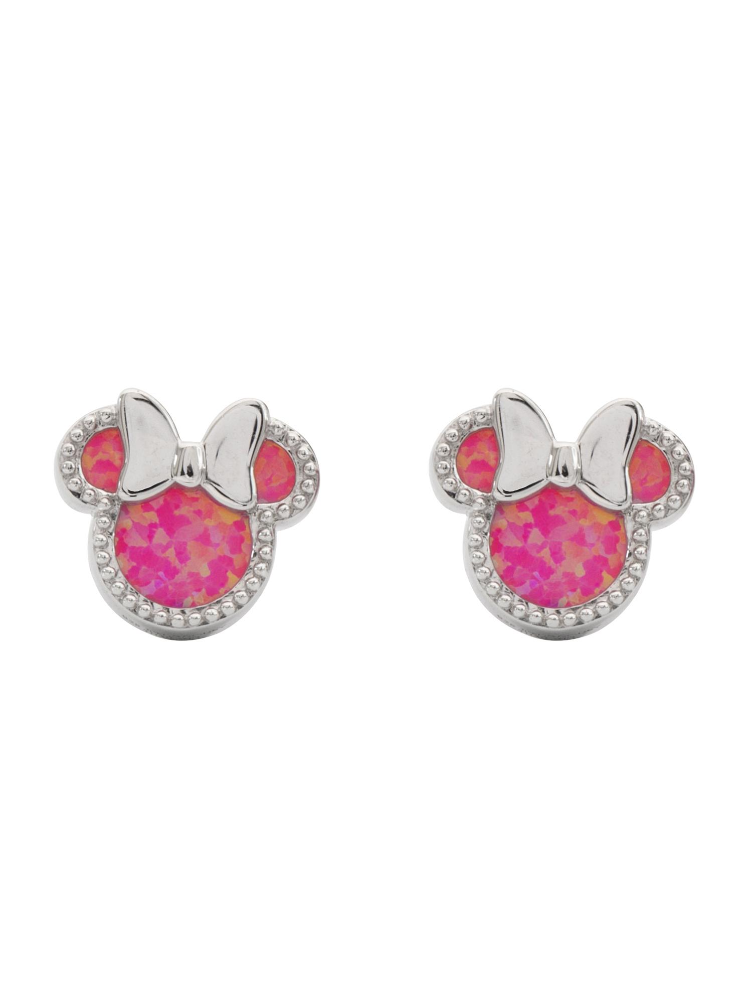 Disney Minnie Mouse Sterling Silver Pink Opal Stud Earrings