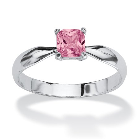 Princess-Cut Birthstone Solitaire or Stack Ring in Sterling Silver - June- Simulated Alexandrite Pink Pearl Flower Ring