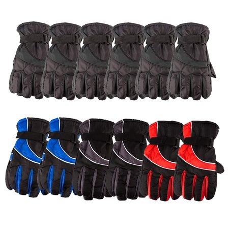 Yacht & Smith 12 Pack Mens Value Pack Winter Warm Waterproof Ski Gloves, One Size Fits All (Assorted)