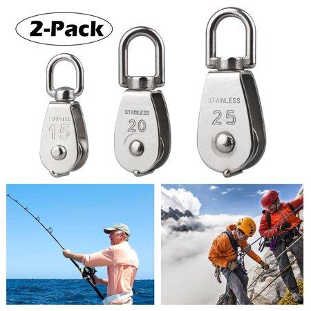 EEEkit 2 Pack M25 M15 M20 Crane Swivel Hook, Single Pulley Block 304 Stainless Steel Single Pulley Roller--Loading 400 KG ()