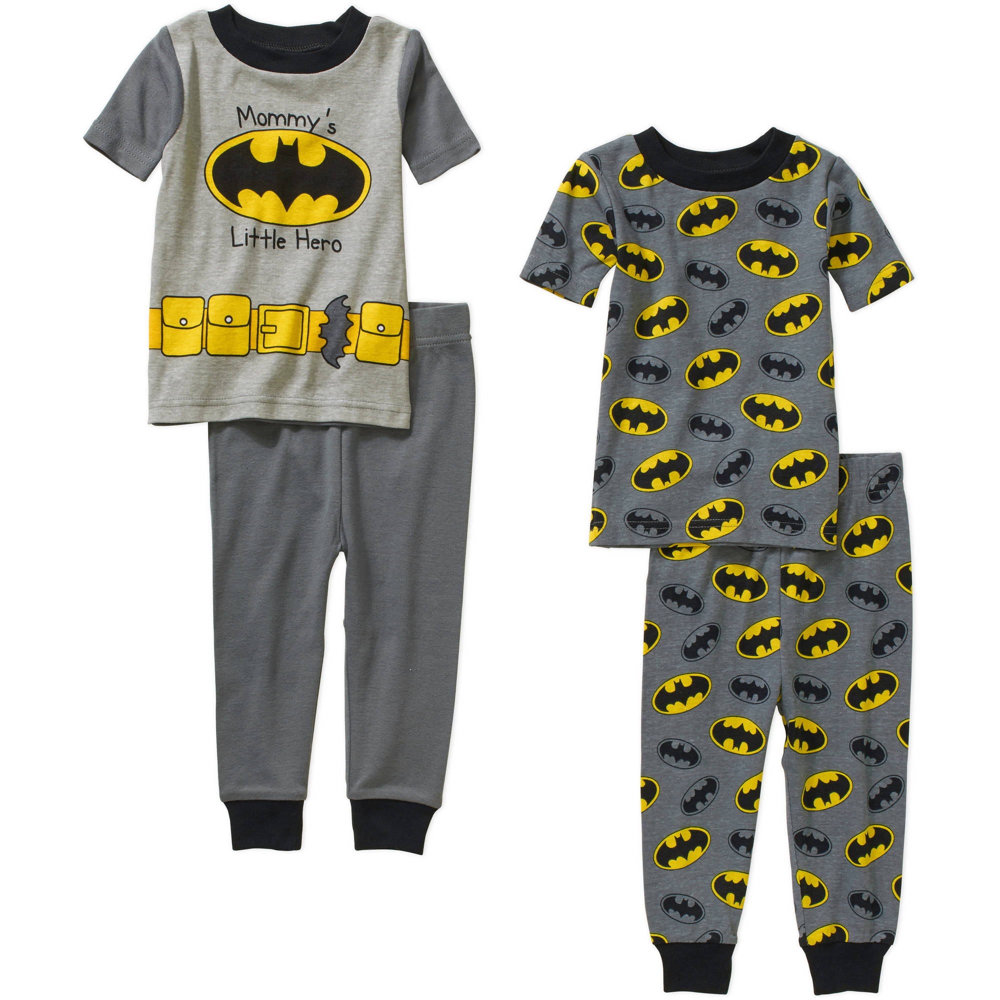 Batman Infant Baby Boy Cotton Tight Fit Short Sleeve Pajama Set, 4-Pieces