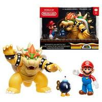 "Nintendo 6"" Super Mario Bowser Vs Mario Diorama 3 Figure Pack"