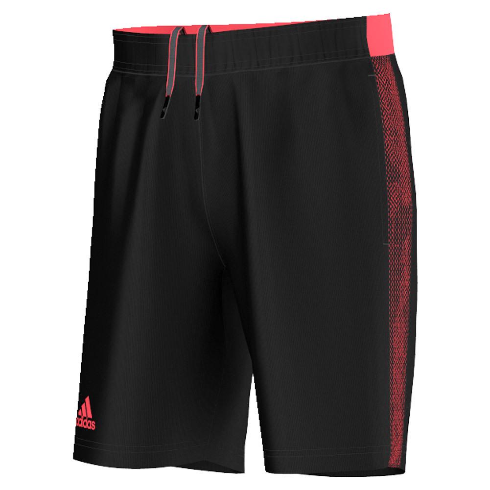 Adidas Men`s Barricade Tennis Short Black and Flash Red