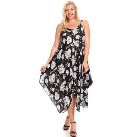 Womens Floral Rose Asymmetric Spring Plus Size V-neck Dress -