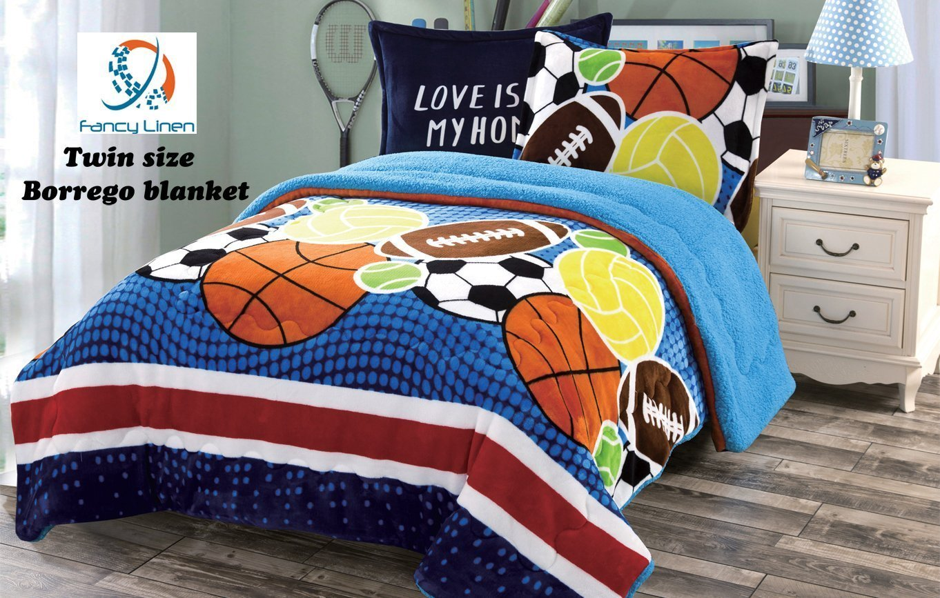 Fancy Collection 2pc Twin Size teens Boys Blue Orange Brown White Sport Blanket... by