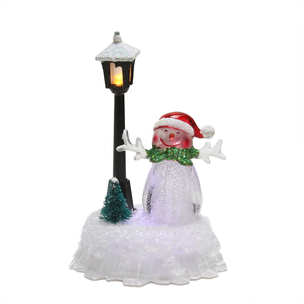 5 Led Lighted Color Changing Snowman With Santa Hat With Lamp Post Christmas Table Top Figure Walmart Com Walmart Com
