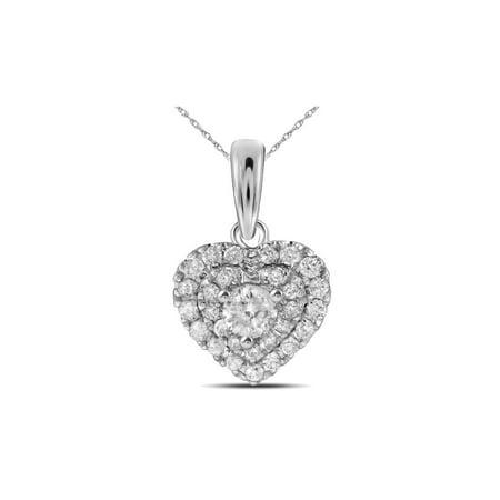 1/3 Carat (ctw I-J, I2-I3) Diamond Heart Pendant Necklace in 14K White Gold with Chain Box Chain I2 I3 Stone