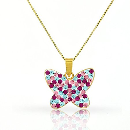 Butterfly Pendant with Swarovski Element Crystals and Yellow Gold Plated Chain