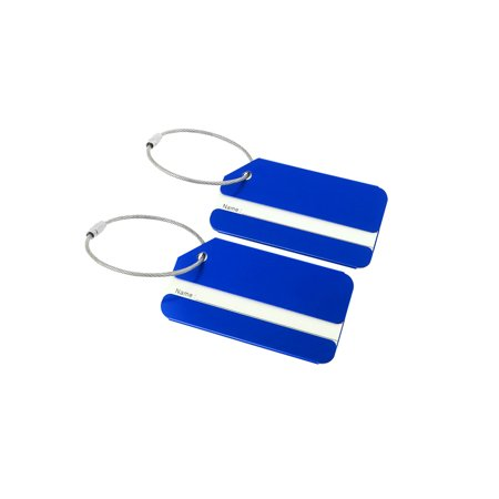 Unique Bargains Travel Aluminum Suitcase Luggage Tags Bag Labels, 2/7 Pack Luggage Golf Bag Tag
