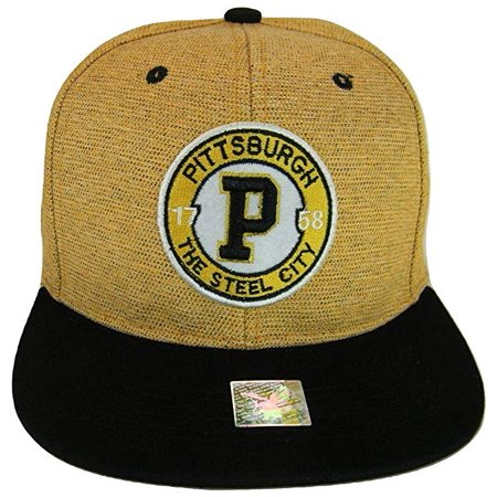 Pittsburgh Steel City Patch Style Snapback Baseball Cap (Gold/Black)](Party City Pittsburgh Pa)