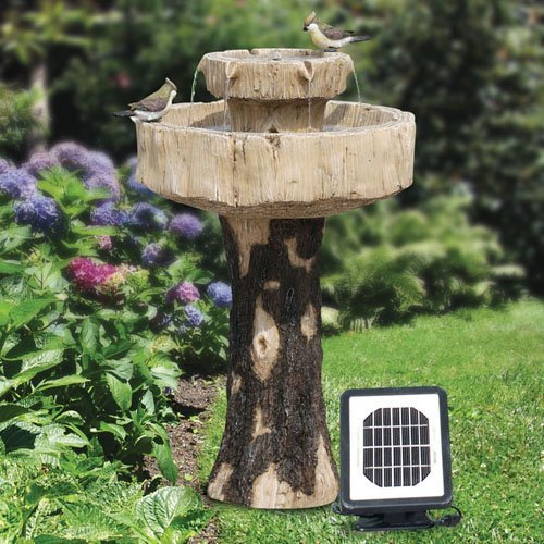 Alpine Solar Tree Fiberglass 2 Tiered Fountain with Bird