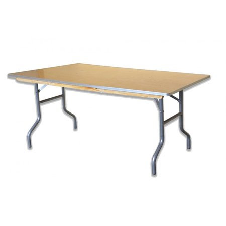 Pogo Rectangle Wood Folding Table Banquet Office, 4 Foot (48 Pocket Solid Wood)