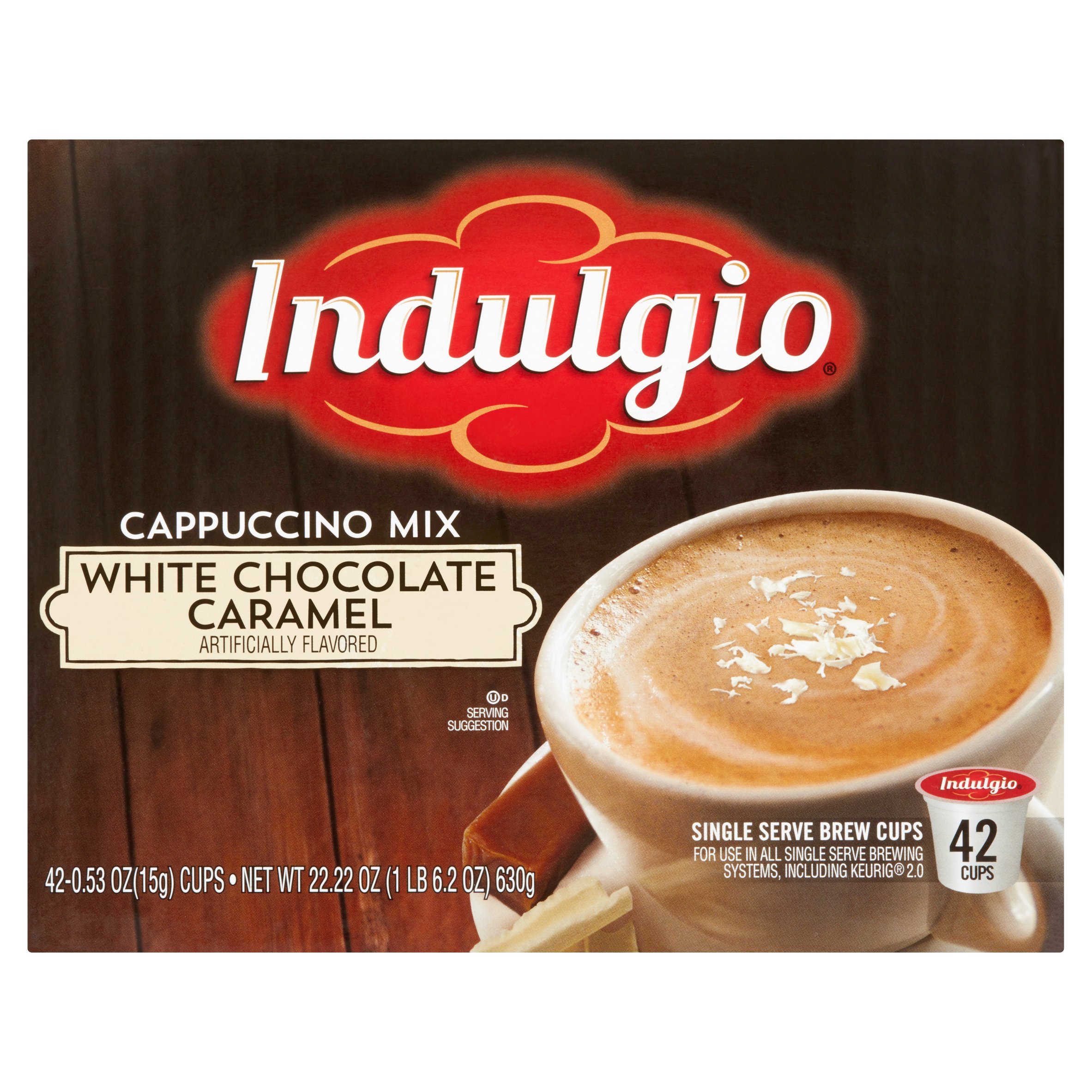 Indulgio Cappuccino Mix White Chocolate Caramel Single Serve Brew Cups, 0.53 oz, 42 count