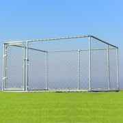 Gymax Large Pet Dog Run House Kennel Shade Cage 7.5' x7.5'  Roof Cover Backyard Playpen