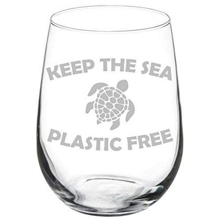 Wine Glass Goblet Sea Turtle Keep The Sea Plastic Free (17 oz Stemless)