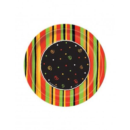 Fiesta Stripes Round Printed Dessert Plates, 8ct, Cinco de Mayo Party