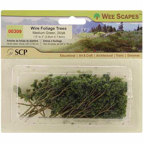 "SCP Wire Foliage Trees, 1.5"" To 3"", 24/pkg, Medium Green"