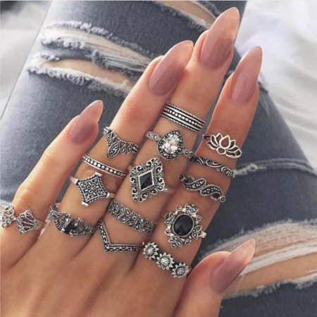 15Pcs/Set Bohemia Flowers Hollow Out Crown Finger Ring Set Knuckle Rings Women Jewelry Accessories (Flowers Indian Ring)