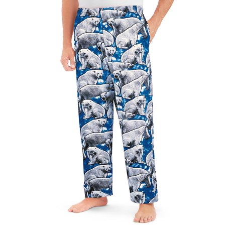 Mens All-Over Polar Bear Print Lounge Pants Sleepwear with Comfortable Drawstring Waistband, X-Large, Blue And White