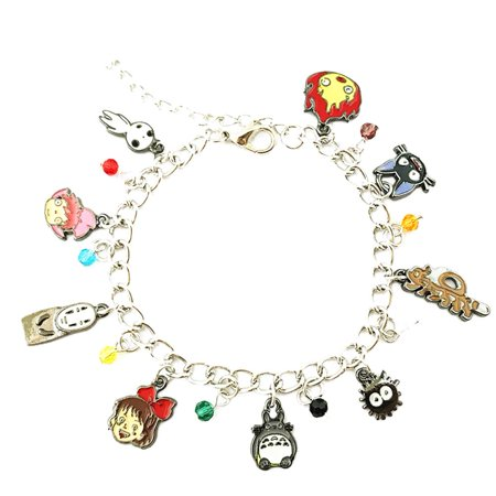 Studio Ghibli Silver Tone Cartoon Comic Logo Charm Bracelet w/Gift Box by Superheroes