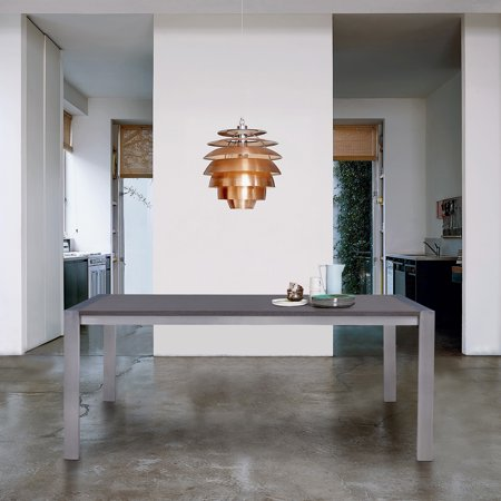 Tessa Contemporary Dining Table In Brushed Stainless Steel And Gray Walnut Top