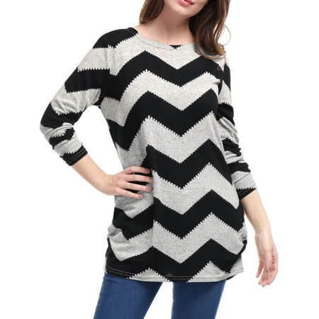 Women Chevron Pattern Knitted Tunic Tops ()