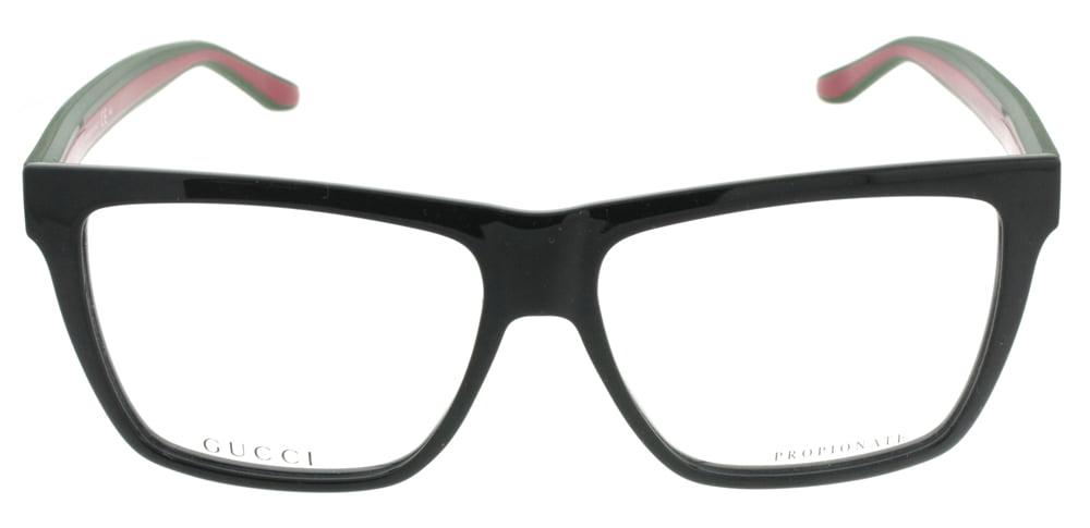 4ba1649579 Gucci GG 1008 51N 55mm Shiny Black Red Green Rectangle Unisex Eyeglasses -  Walmart.com
