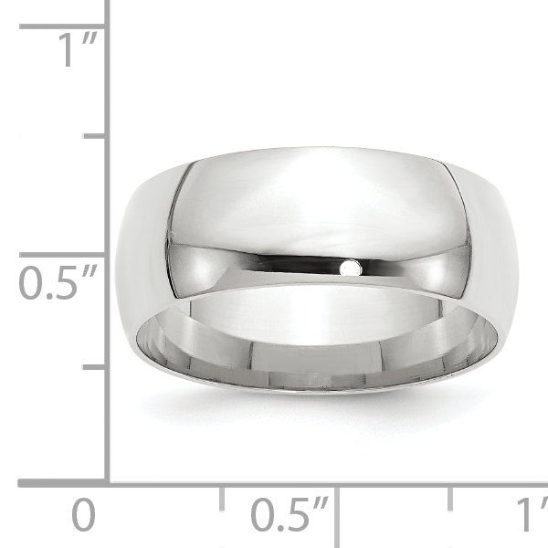 14K White Gold 8mm Light Weight Comfort Fit Band Size 7.5 - image 2 de 3