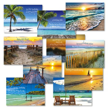 "Coastal Birthday Greeting Cards Value Pack - Set of 20 (10 designs), Large 5"" x 7"", Birthday Cards with Sentiments Inside, White Envelopes"