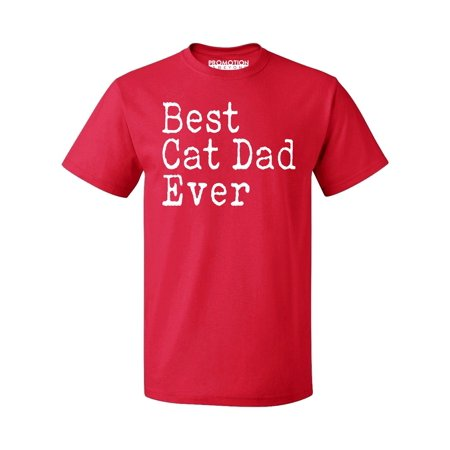 P&B Best Cat Dad Ever Men's T-shirt, Red, S