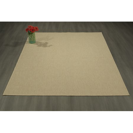 """Berrnour Home Summer Collection Natural Solid Design Indoor / Outdoor Area Rug, 5'3"""""""