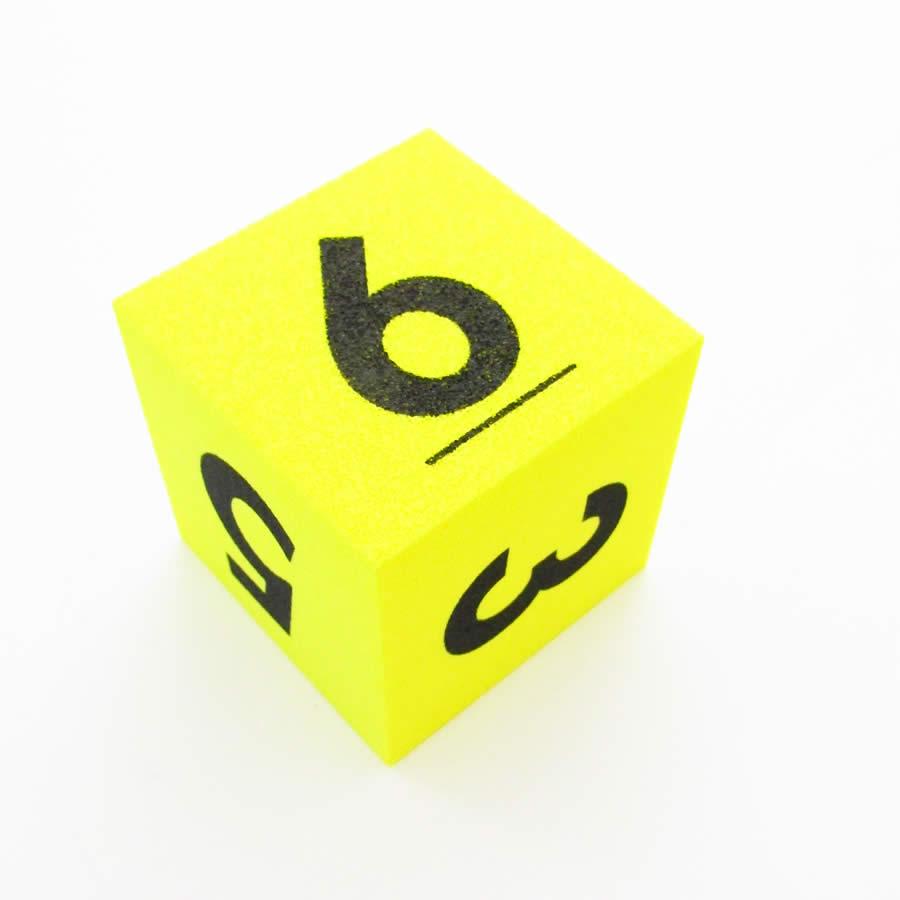 Yellow Opaque Foam Die with Black Numbers D6 50mm (2in) Pack of 1 Die Koplow Games