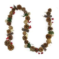 Northlight Seasonal Decorative Glittered Pine Cone Twig and Holly Berry Artificial Christmas Garland