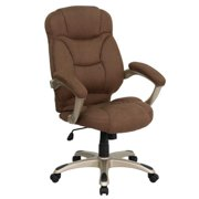 A Line Furniture Malaga Executive Brown Microfiber Adjustable Swivel Office Chair with Padded Arms