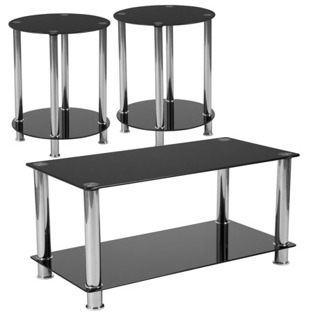 Riverside Collection Flash Furniture 3 Piece Coffee and End Table Set with Black Glass Tops and Stainless Steel Frames ()