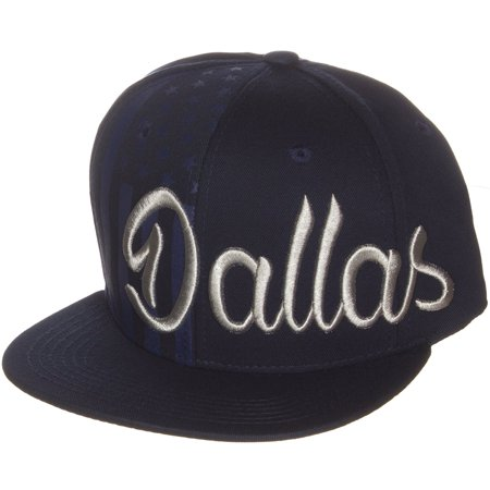 American Cities USA Flag Blind Side Dallas Embroidered Script Letters Flat Visor Snapback Hat Cap
